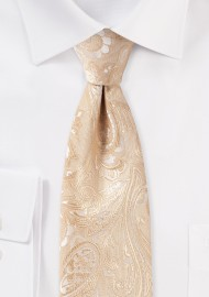 Golden Champagne Paisley Mens Tie in XL