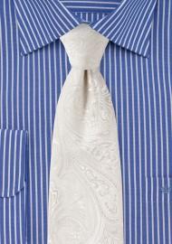 Kids Paisley Tie in Ivory
