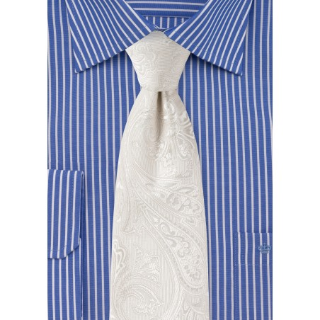 Ivory Paisley Tie in XL