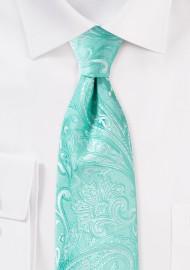 Aqua Paisley Tie in XL