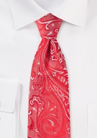Kids Tie in Bright Poppy Red