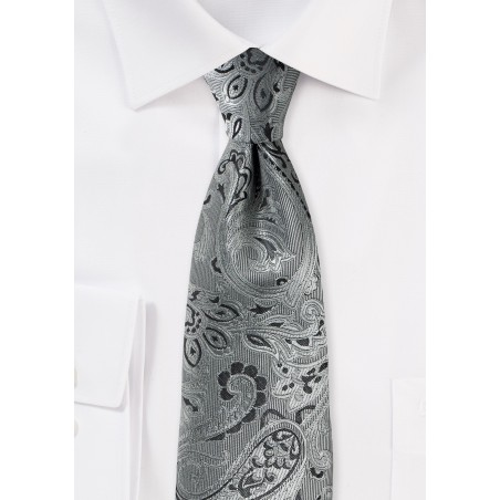 Mercury Silver XL Tie with Paisley Design