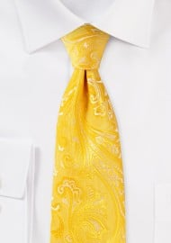 Canary Yellow Mens Paisley Tie in XL