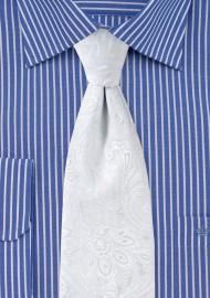 Bright White Paisley Tie for Kids