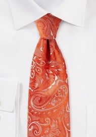 Kids Paisley Tie in Tiger Lilly Red