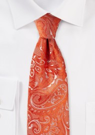 Extra Long Paisley Tie in Tiger Lilly