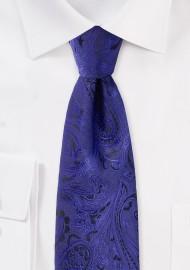 Kids Paisley Tie in Ultramarine