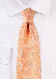 Peach Hued Wedding Paisley Tie