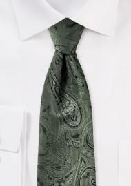 Moss Green Kids Paisley Tie