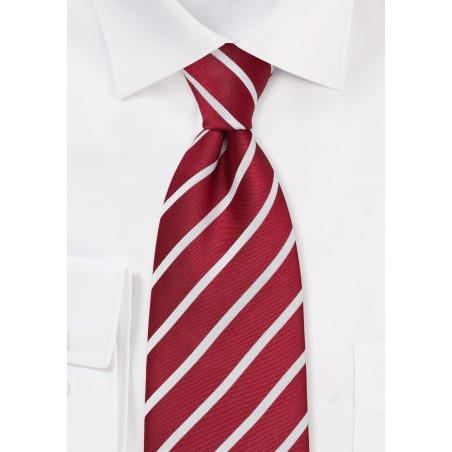 Classic Red and White Striped Tie