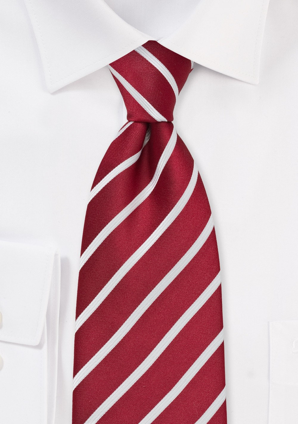 Classic Red and White Striped Kids Tie