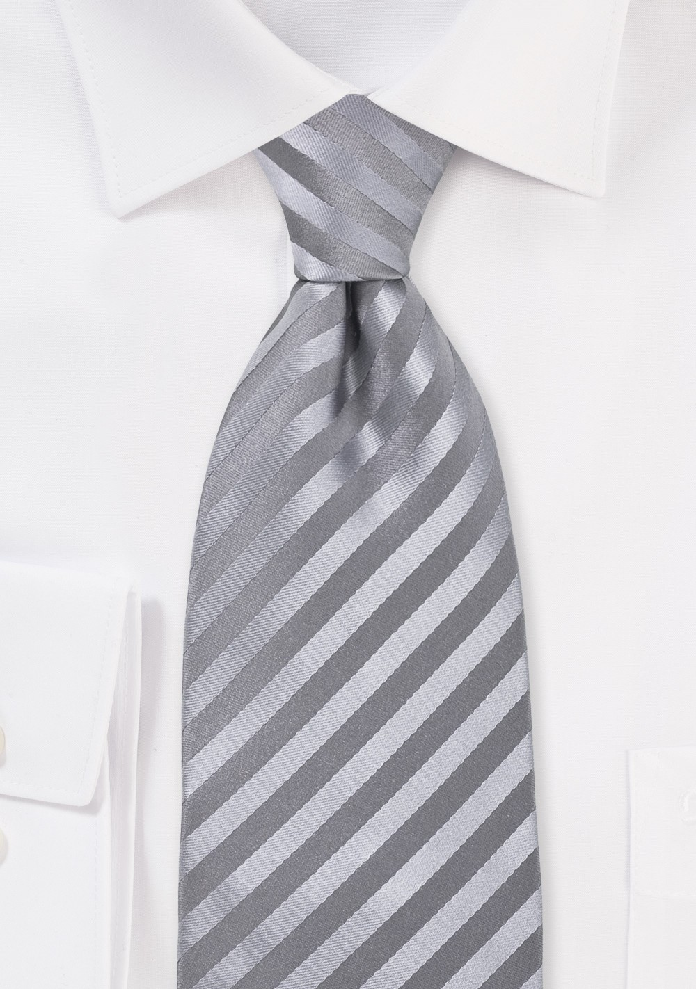 Silver-Gray Silk Tie for Kids