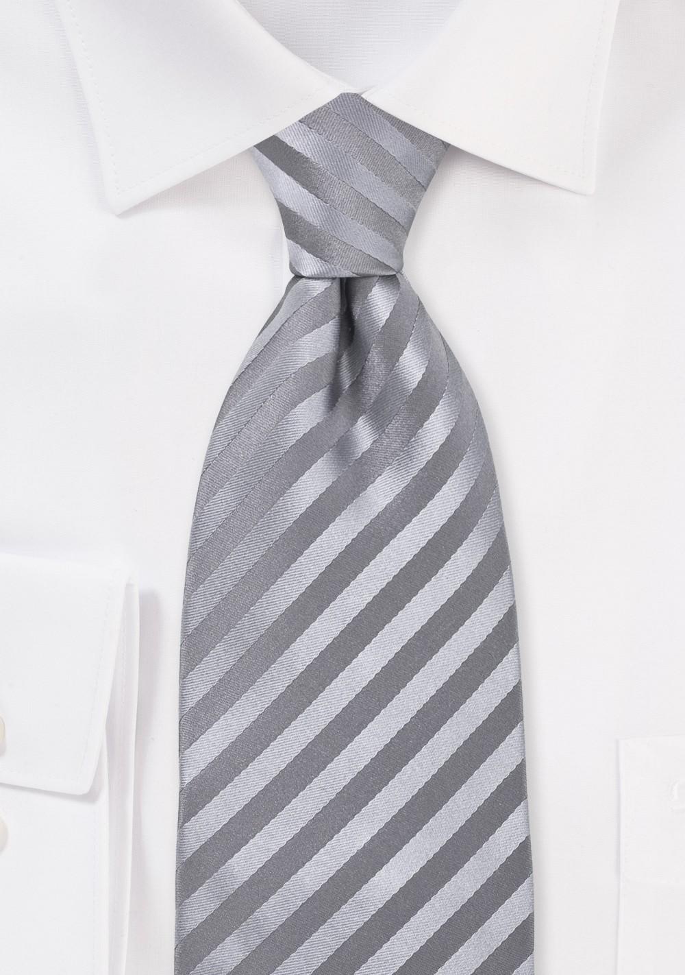 Silver-Gray Silk Tie in Extra Long Length