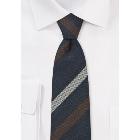 Trendy Skinny Tie in Navy, Gray, Brown