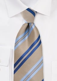 Wheat-Brown and Blue Tie