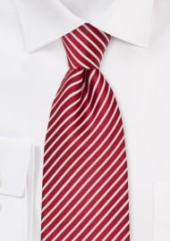 Cherry Red and White Striped Silk Tie