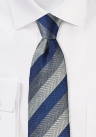 Herringbone Stripe Tie in Navy and Gray