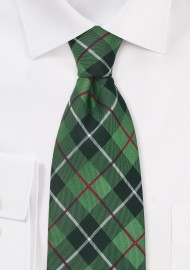 XL Tie in Tartan Check Green Black