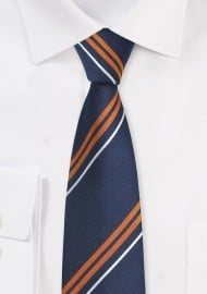 Navy and Orange Silk Tie in Skinny Cut