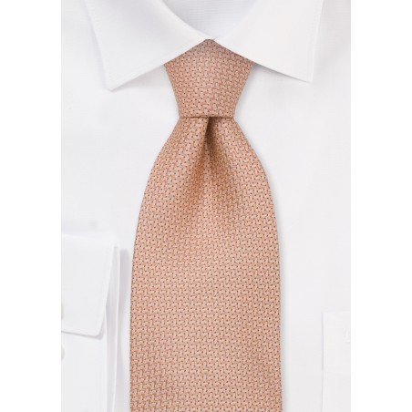 Extra Long Ties - Salmon colored silk tie by Chevalier