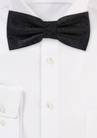 Formal Weave Paisley Bow Tie in Black