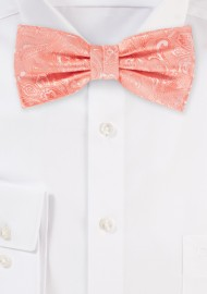 Bellini Pink Mens Paisley Bow Tie