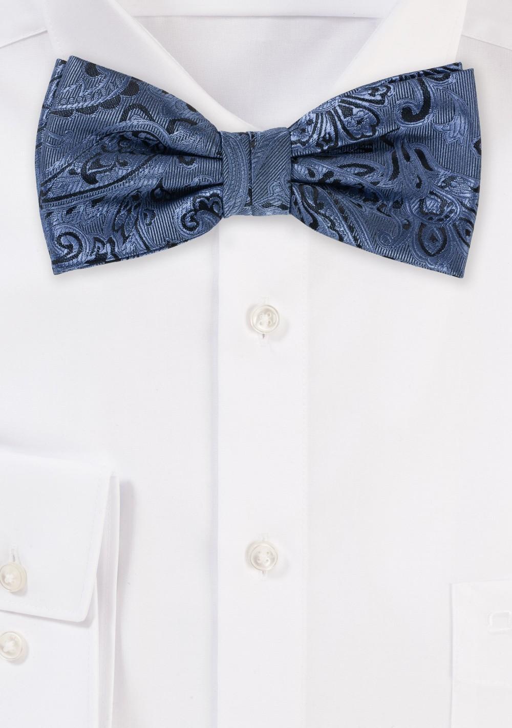 Steel Blue Paisley Bow Tie