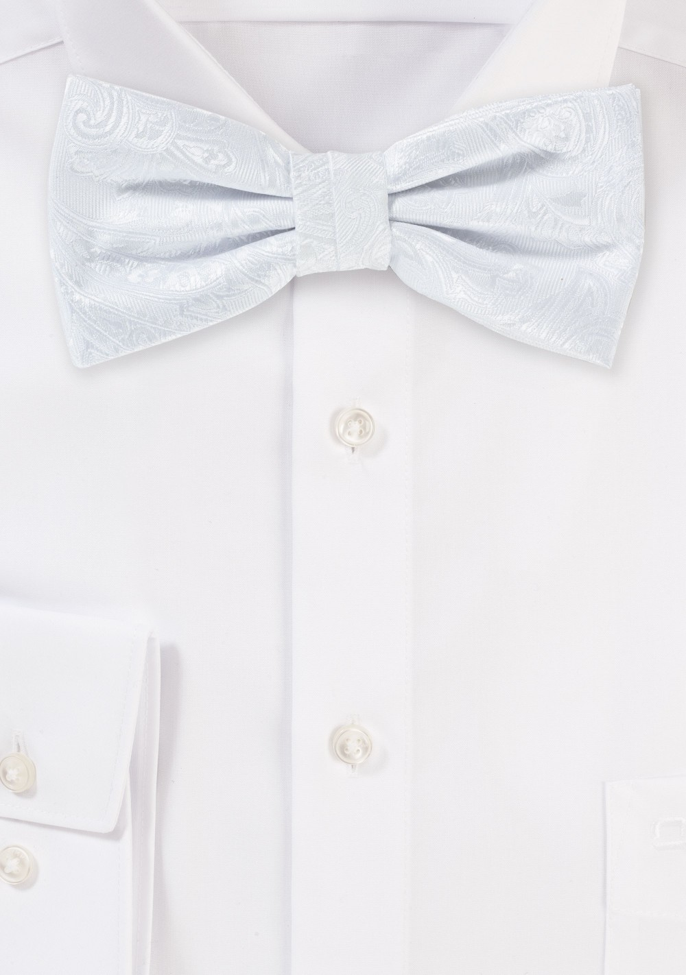 Bright White Paisley Bowtie