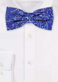 Morning Glory Blue Paisley Bow Tie