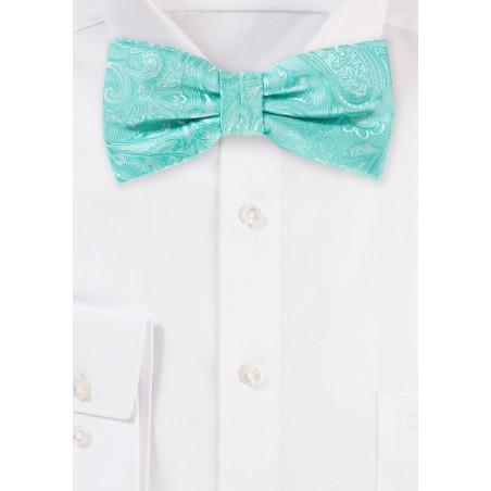 Woven Paisley Bow Tie in Aqua