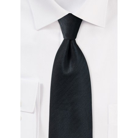 Jet Black Tie with Herringbone Texture