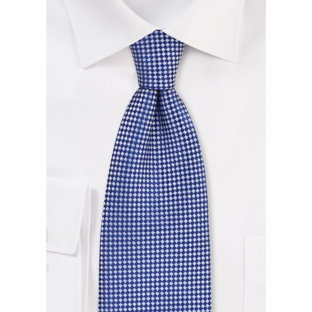 Royal Blue and Silver Check Tie in XL Length