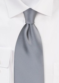Solid Silver Men's Tie in Extra Long Size