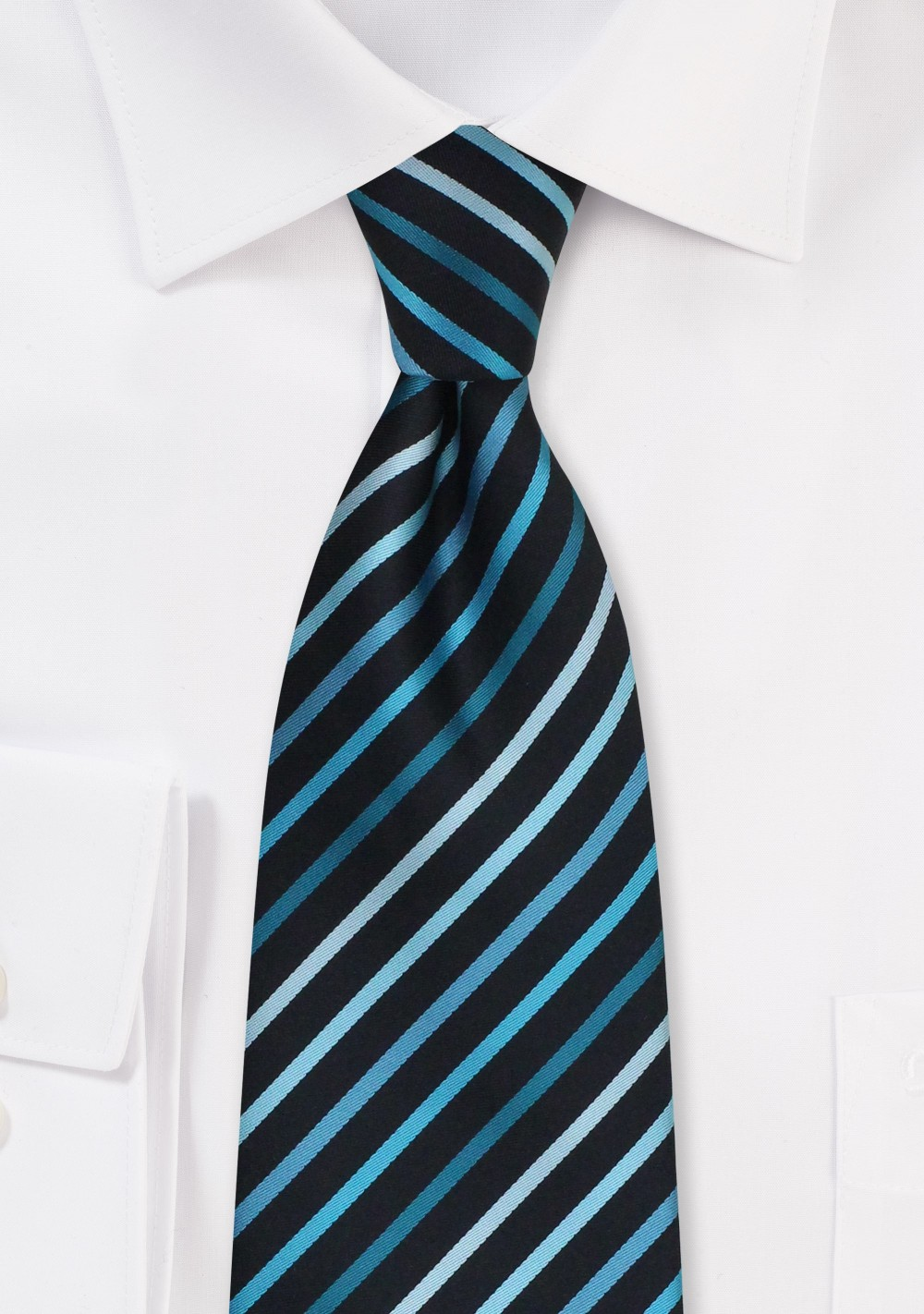 Turquoise and Teal Striped Tie