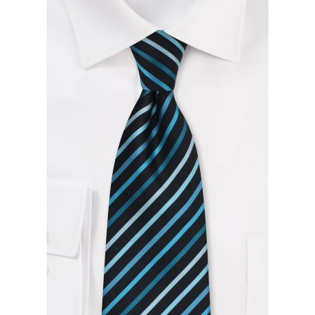 Teal Striped Extra Long Tie