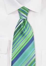 Turquoise-Blue and Green Striped Kids Tie