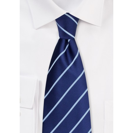Navy and Light Blue Striped Kids Tie