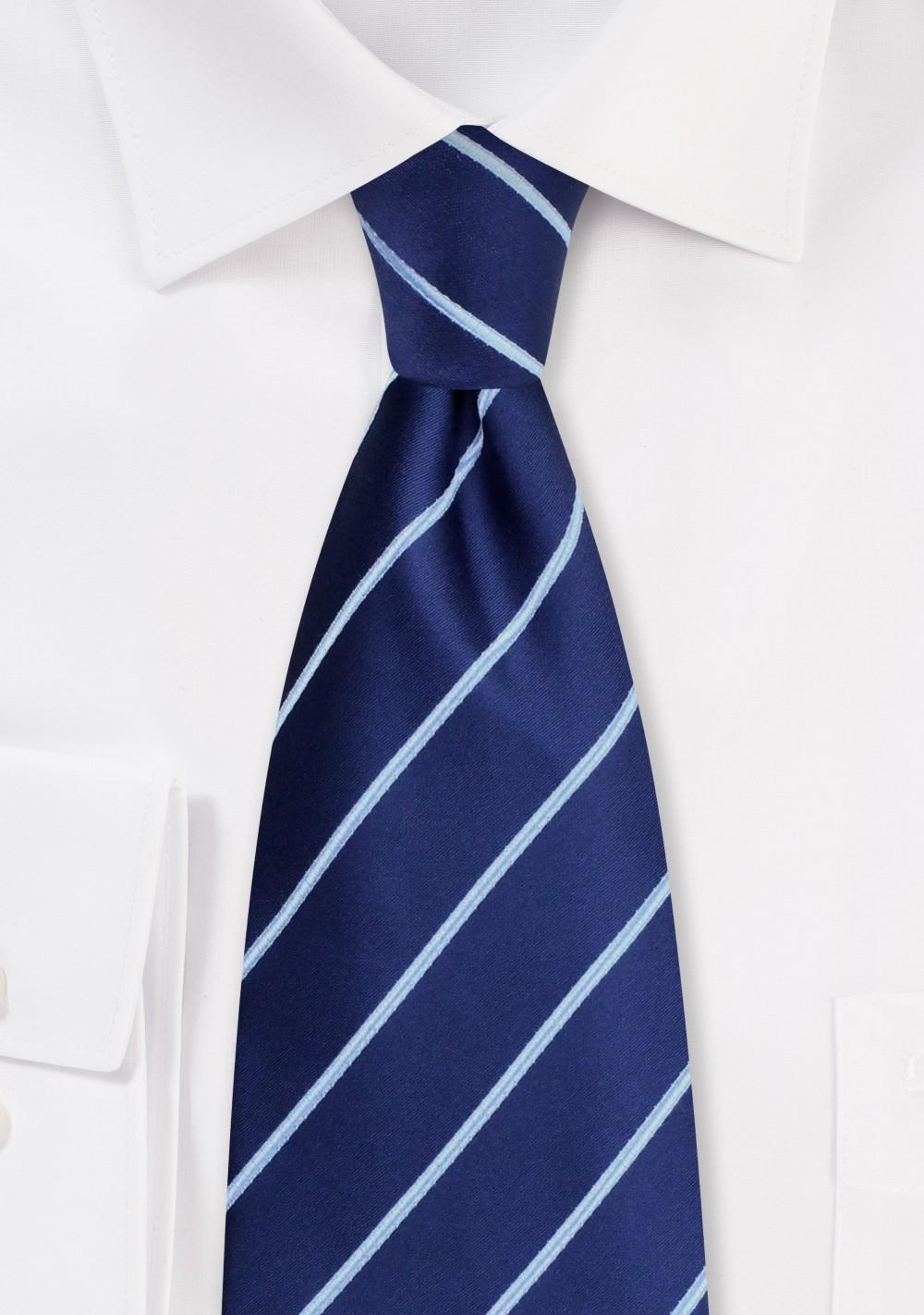 Navy Blue Striped Tie in XL Length