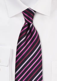 Black Tie With Pink, Fuchsia and Rose Stripes