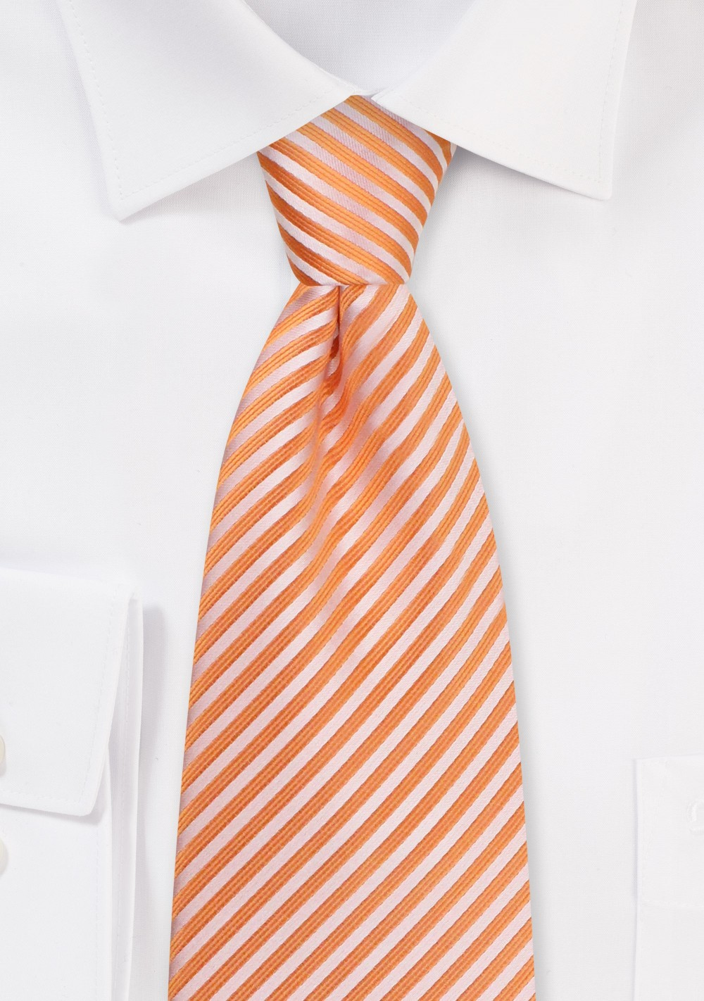 Tangerine Necktie - Tangerine Tie with Narrow Stripes