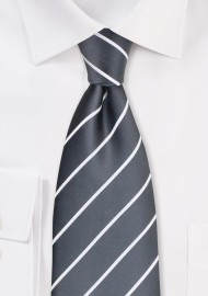 Gray and White Striped Tie in XL