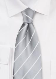 Formal Silver Striped Tie in XL Length