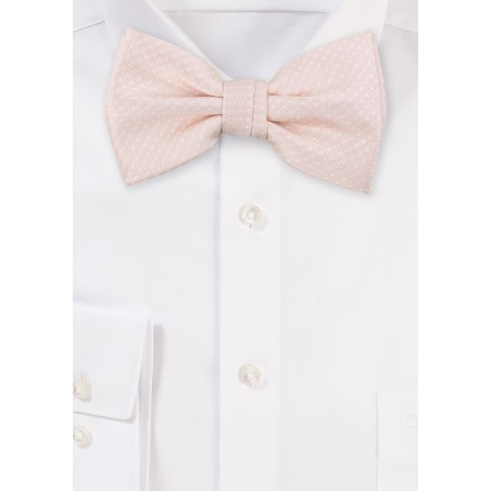 Blush Pink Bow Tie with White Pin Dots