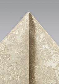 Golden Champagne Paisley Pocket Square
