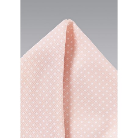 Blush Pink Pocket Square with Dots
