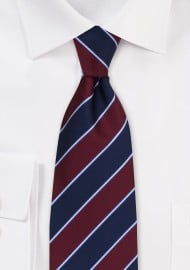 Navy and Burgundy Stripe Mens Tie