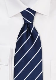 XL Marine Blue Striped Tie