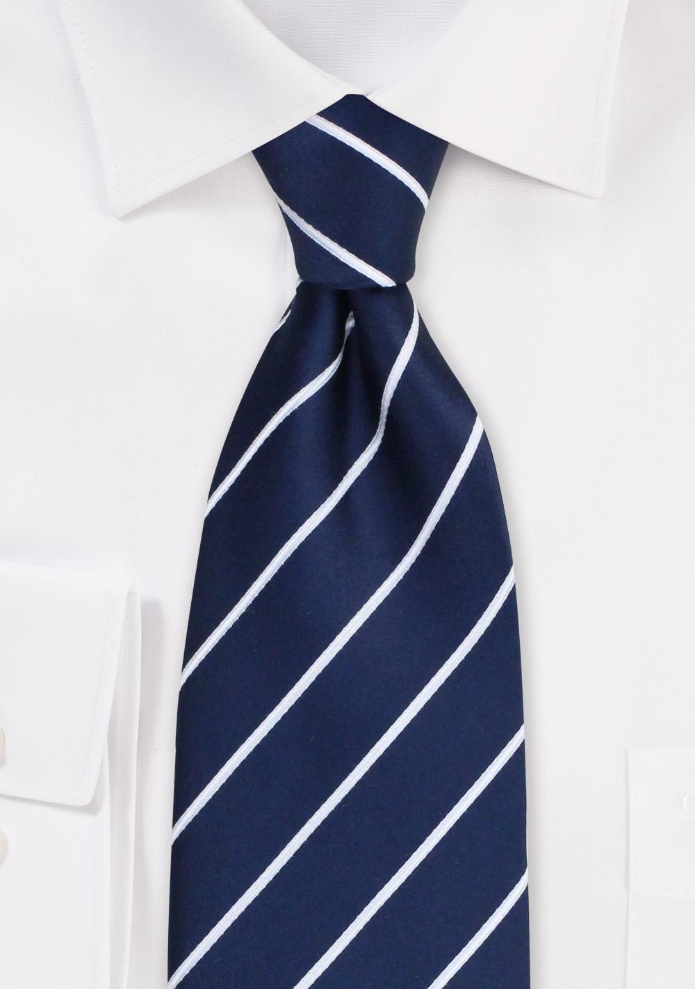XL Marine Blue Striped Tie