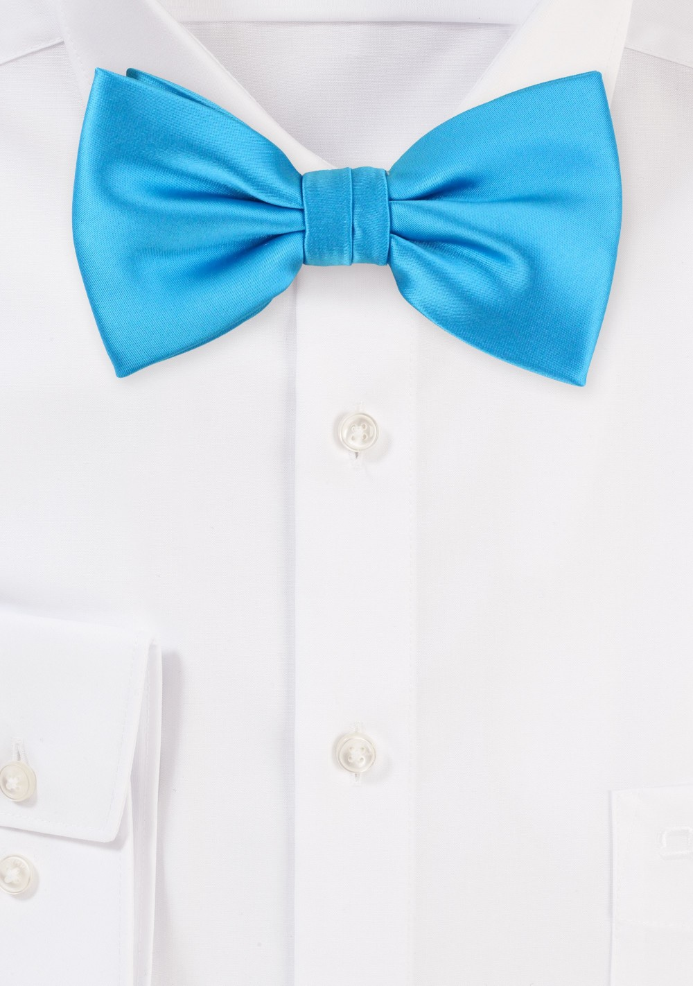 Solid Cyan Blue Men's Bow Tie