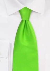 XL Silk Tie in Bright Lime Green